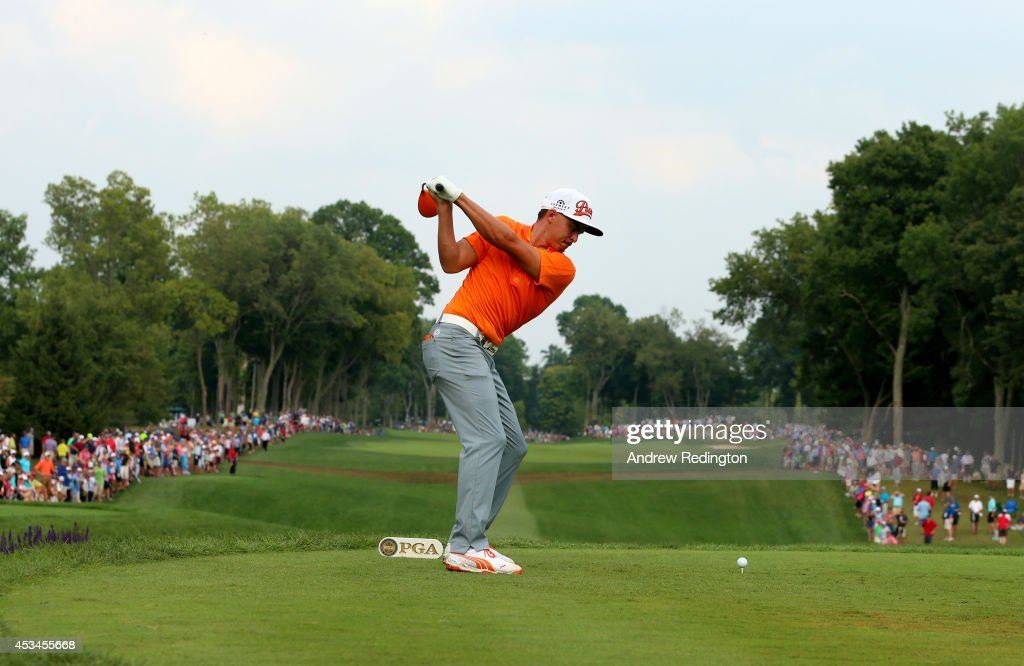 Rickie Fowler of the United States hits his tee shot on the tenth hole during the final round of the 96th PGA Championship at Valhalla Golf Club on...