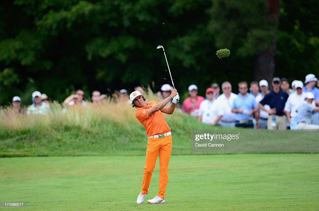 Rickie Fowler of the United States hits is second shot on the first hole during the final round of the 113th U.S. Open at Merion Golf Club on June 16, 2013 in Ardmore, Pennsylvania.