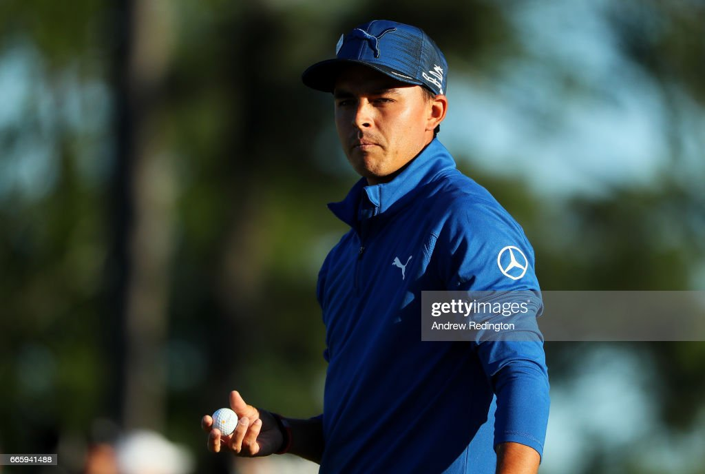 Rickie Fowler of the United States looks on from the 18th hole during the second round of the 2017 Masters Tournament at Augusta National Golf Club on April 7, 2017 in Augusta, Georgia.