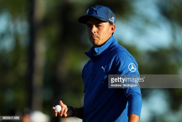 Rickie Fowler of the United States looks on from the 18th hole during the second round of the 2017 Masters Tournament at Augusta National Golf Club...