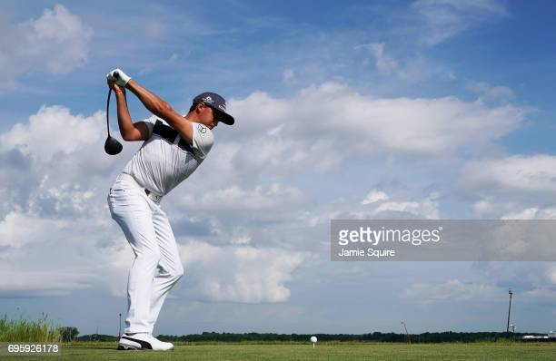 Rickie Fowler of the United States plays his shot during a practice round prior to the 2017 US Open at Erin Hills on June 14 2017 in Hartford...