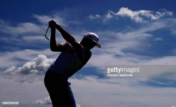 Rickie Fowler of the United States plays his shot from the 16th tee during the first round of the 2017 US Open at Erin Hills on June 15 2017 in...