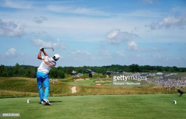Rickie Fowler of the United States plays his shot from the fourth tee during the first round of the 2017 US Open at Erin Hills on June 15 2017 in...