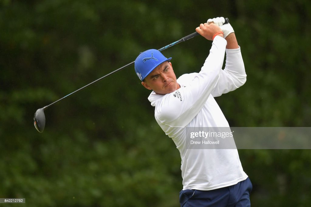 Rickie Fowler of the United States plays his shot from the fourth tee during round three of the Dell Technologies Championship at TPC Boston on September 3, 2017 in Norton, Massachusetts.