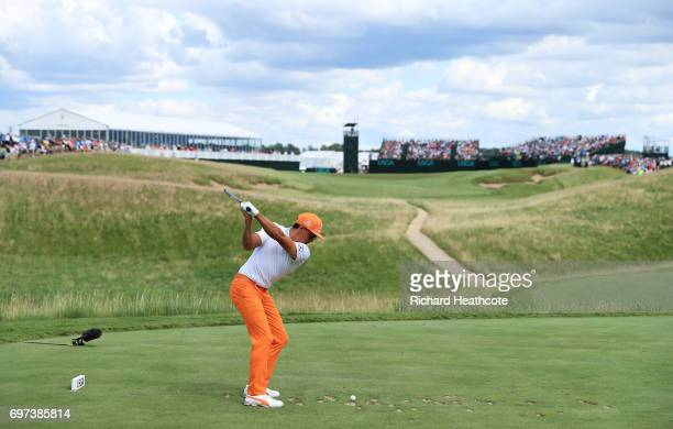 Rickie Fowler of the United States plays his shot from the sixth tee during the final round of the 2017 US Open at Erin Hills on June 18 2017 in...