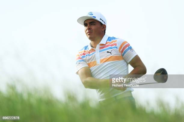 Rickie Fowler of the United States plays his shot from the tenth tee during the first round of the 2017 US Open at Erin Hills on June 15 2017 in...