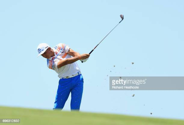 Rickie Fowler of the United States plays his shot on the eighth hole during the first round of the 2017 US Open at Erin Hills on June 15 2017 in...