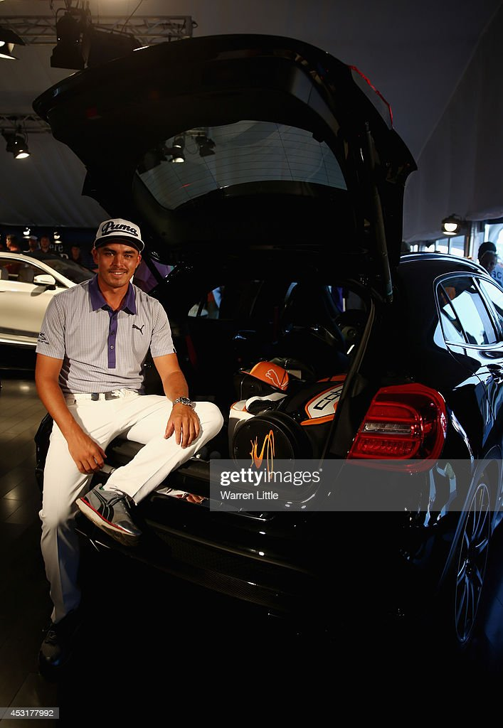 <a gi-track='captionPersonalityLinkClicked' href=/galleries/search?phrase=Rickie+Fowler&family=editorial&specificpeople=4466576 ng-click='$event.stopPropagation()'>Rickie Fowler</a> of the United States poses for a photo while in the Mercedes Benz Performance Centre during a practice round prior to the start of the 96th PGA Championship at Valhalla Golf Club on August 4, 2014 in Louisville, Kentucky.