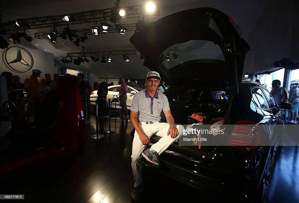 <a gi-track='captionPersonalityLinkClicked' href=/galleries/search?phrase=Rickie+Fowler&family=editorial&specificpeople=4466576 ng-click='$event.stopPropagation()'>Rickie Fowler</a> of the United States poses with one of the cars at the Mercedes Benz Performance Centre during a practice round prior to the start of the 96th PGA Championship at Valhalla Golf Club on August 4, 2014 in Louisville, Kentucky.