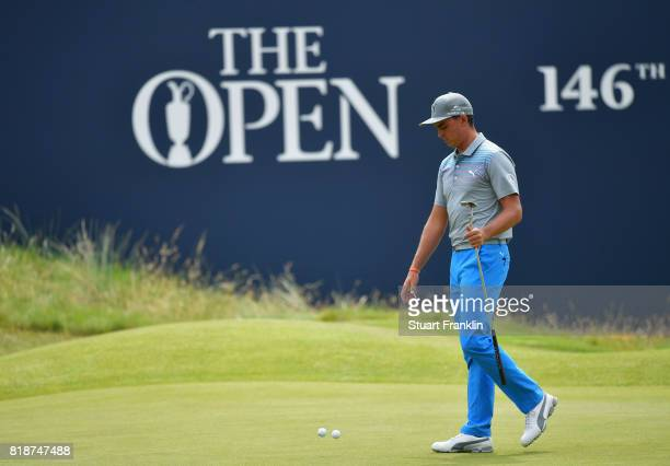 Rickie Fowler of the United States putts during a practice round prior to the 146th Open Championship at Royal Birkdale on July 19 2017 in Southport...
