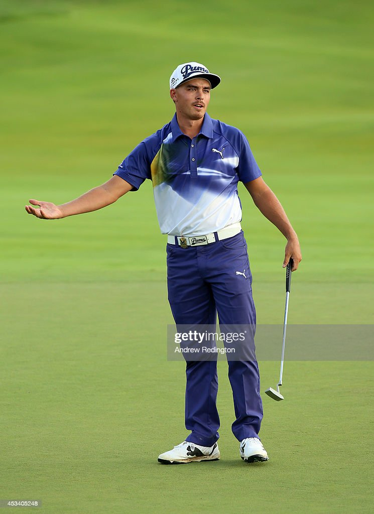 <a gi-track='captionPersonalityLinkClicked' href=/galleries/search?phrase=Rickie+Fowler&family=editorial&specificpeople=4466576 ng-click='$event.stopPropagation()'>Rickie Fowler</a> of the United States reacts to a missed putt on the 18th hole during the third round of the 96th PGA Championship at Valhalla Golf Club on August 9, 2014 in Louisville, Kentucky.