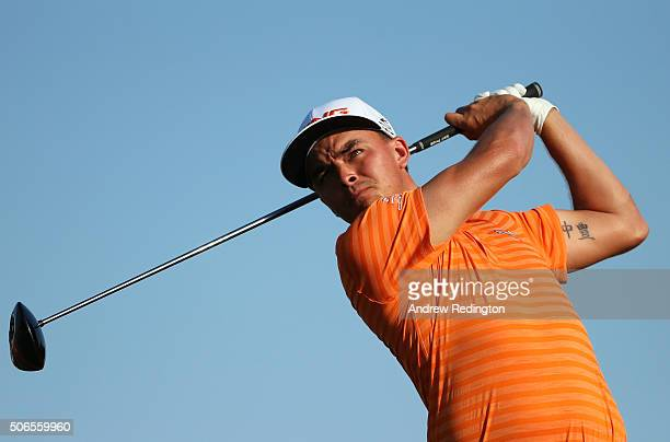 Rickie Fowler of the United States tees off on the 16th hole during round four of the Abu Dhabi HSBC Golf Championship at the Abu Dhabi Golf Club on...
