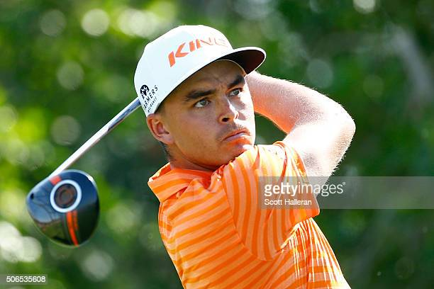 Rickie Fowler of the United States tees off on the 5th hole during round four of the Abu Dhabi HSBC Golf Championship at the Abu Dhabi Golf Club on...
