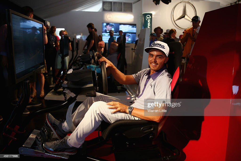 <a gi-track='captionPersonalityLinkClicked' href=/galleries/search?phrase=Rickie+Fowler&family=editorial&specificpeople=4466576 ng-click='$event.stopPropagation()'>Rickie Fowler</a> of the United States uses the driving simulator in the Mercedes Benz Performance Centre during a practice round prior to the start of the 96th PGA Championship at Valhalla Golf Club on August 4, 2014 in Louisville, Kentucky.