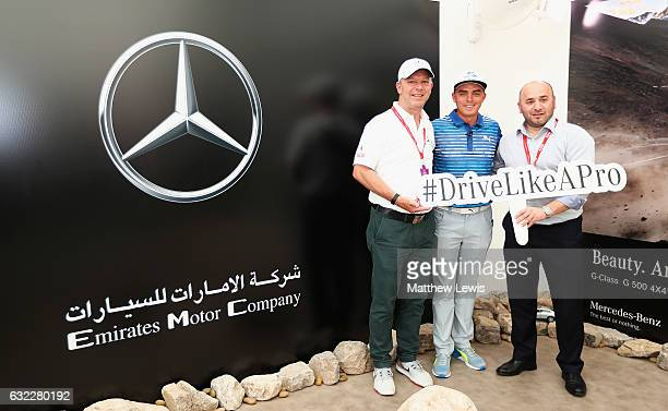 Rickie Fowler of the United States visits the Mercedes Stand in the Championship village during day three of the Abu Dhabi HSBC Championship at Abu...
