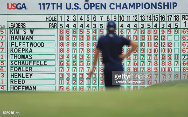 Rickie Fowler of the United States waits to putt on the 18th green during the third round of the 2017 US Open at Erin Hills on June 17 2017 in...
