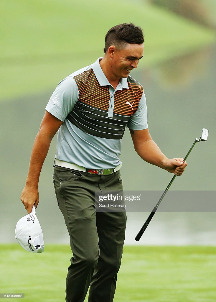 Rickie Fowler of the United States walks off the ninth green after a seven-under par 65 during the first round of the WGC - HSBC Champions at the Sheshan International Golf Club on October 27, 2016 in Shanghai, China.