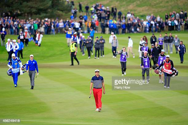Rickie Fowler of the United States walks on the 2nd hole during the Singles Matches of the 2014 Ryder Cup on the PGA Centenary course at the...
