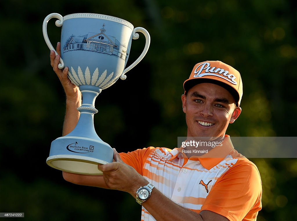 Rickie Fowler of the United States with the winners trophy after winning Deutsche Bank Championship at TPC Boston on September 7 2015 in Norton...