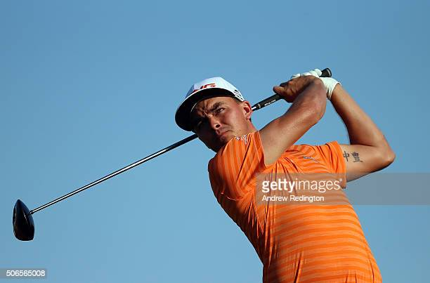 Rickie Fowler of the USA hits his teeshot on the 16th hole duing the final round of the Abu Dhabi HSBC Golf Championship at the Abu Dhabi Golf Club...