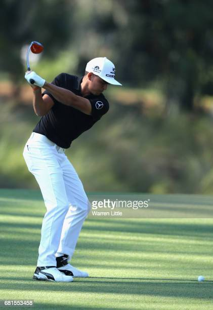 Rickie Fowler of the USA in action during a practice round ahead of THE PLAYERS Championship on the Stadium Course at TPC Sawgrass on May 10 2017 in...