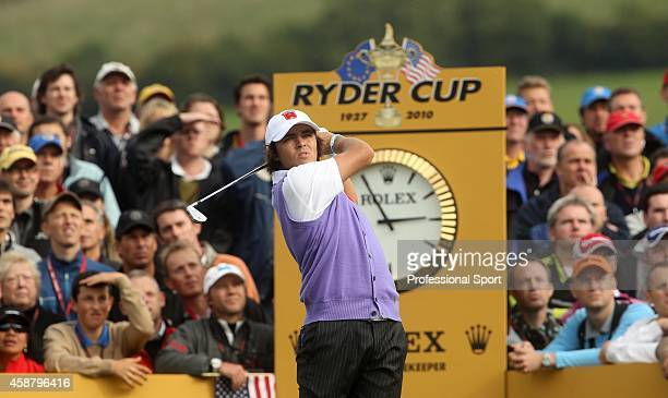 Rickie Fowler of the USA tees off during the rescheduled Afternoon Foursome Matches during the 2010 Ryder Cup at the Celtic Manor Resort on October 2...