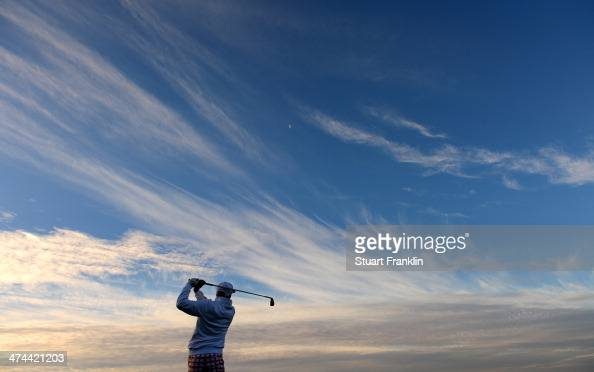 Rickie Fowler of USA plays a shot on the third hole during the semifinal round of the World Golf Championships Accenture Match Play Championship at...