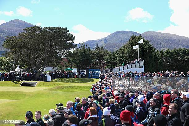 Rickie Fowler of USA tees off on the 1st hole during the Second Round of the Dubai Duty Free Irish Open Hosted by the Rory Foundation at Royal County...