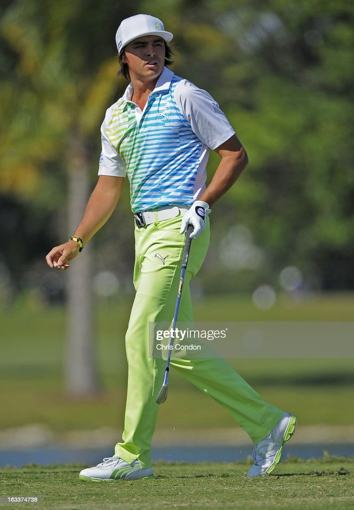 Rickie Fowler on the 9th hole during the second round of the World Golf Championships-Cadillac Championship at TPC Blue Monster at Doral on March 8, 2013 in Doral, Florida.