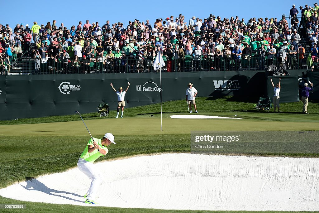 <a gi-track='captionPersonalityLinkClicked' href=/galleries/search?phrase=Rickie+Fowler&family=editorial&specificpeople=4466576 ng-click='$event.stopPropagation()'>Rickie Fowler</a> plays his second shot from a bunker on the 16th hole during the third round of the Waste Management Phoenix Open, at TPC Scottsdale on February 6, 2016 in Scottsdale, Arizona.