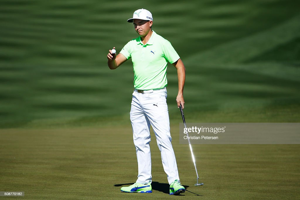 Rickie Fowler reacts to his putt on the second hole during the third round of the Waste Management Phoenix Open at TPC Scottsdale on February 6, 2016 in Scottsdale, Arizona.