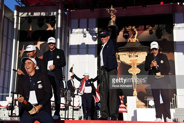Rickie Fowler Ryan Moore Jimmy Walker captain Davis Love III and Zach Johnson of the United States celebrate during the closing ceremony of the 2016...