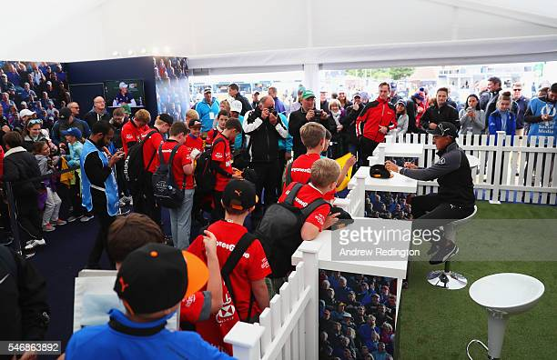 Rickie Fowler signs autographs as he shares his top tips with young fans from the Golf Foundation in a 'live' HSBC Hour at Troon HSBC is providing...