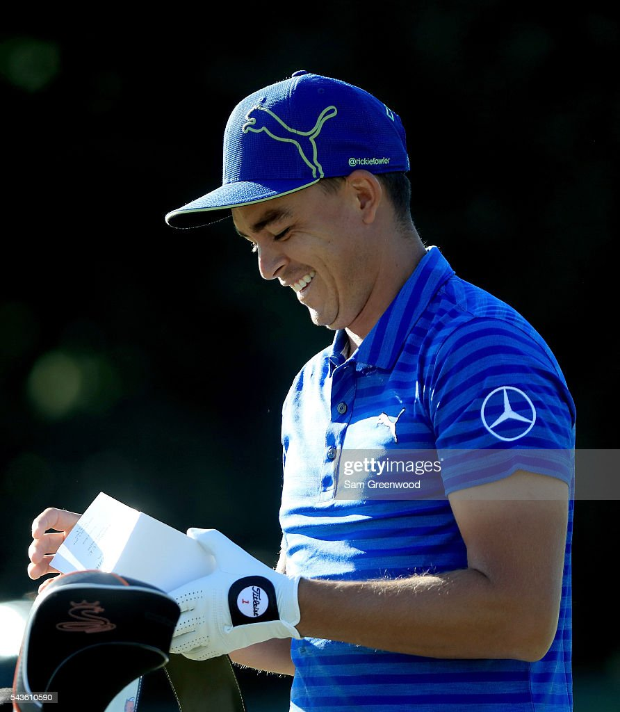 <a gi-track='captionPersonalityLinkClicked' href=/galleries/search?phrase=Rickie+Fowler+-+Golfer&family=editorial&specificpeople=4466576 ng-click='$event.stopPropagation()'>Rickie Fowler</a> smiles during a practice round prior to the World Golf Championships-Bridgestone Invitational at Firestone Country Club South course on June 29, 2016 in Akron, Ohio.