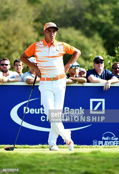 Rickie Fowler stands on the seventh tee box during the final round of the Deutsche Bank Championship at TPC Boston on September 7 2015 in Norton...
