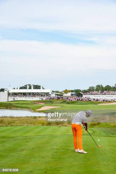 Rickie Fowler tees off on the 15th hole during the final round of the BMW Championship at Conway Farms Golf Club on September 17 2017 in Lake Forest...