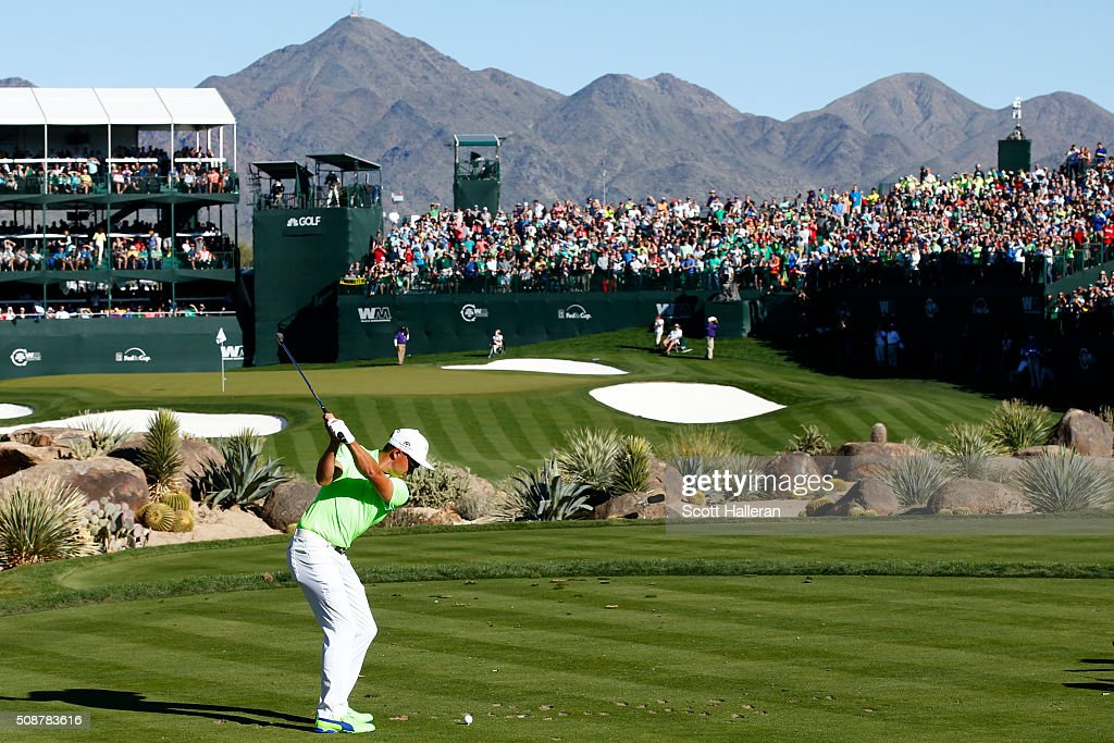 <a gi-track='captionPersonalityLinkClicked' href=/galleries/search?phrase=Rickie+Fowler&family=editorial&specificpeople=4466576 ng-click='$event.stopPropagation()'>Rickie Fowler</a> tees off on the 16th hole during the third round of the Waste Management Phoenix Open at TPC Scottsdale on February 6, 2016 in Scottsdale, Arizona.