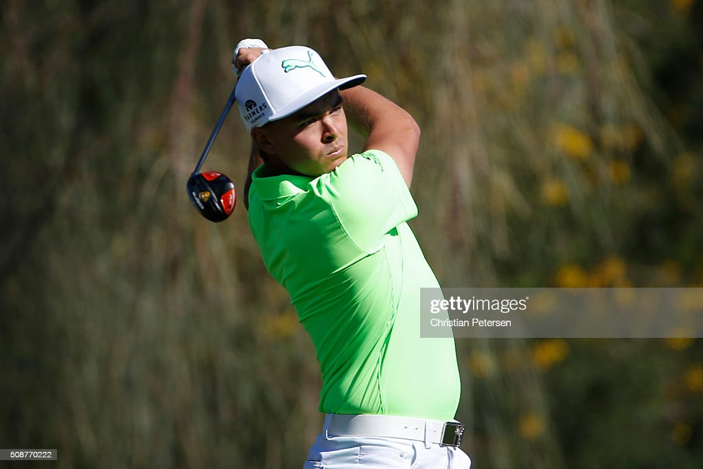 Rickie Fowler tees off on the second hole during the third round of the Waste Management Phoenix Open at TPC Scottsdale on February 6, 2016 in Scottsdale, Arizona.