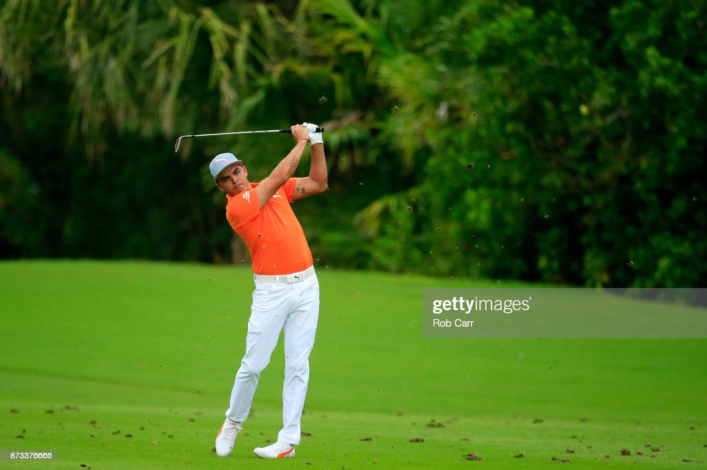 Rickie Fowler the United States plays a shot on the 17th hole during the final round of the OHL Classic at Mayakoba on November 12, 2017 in Playa del Carmen, Mexico.