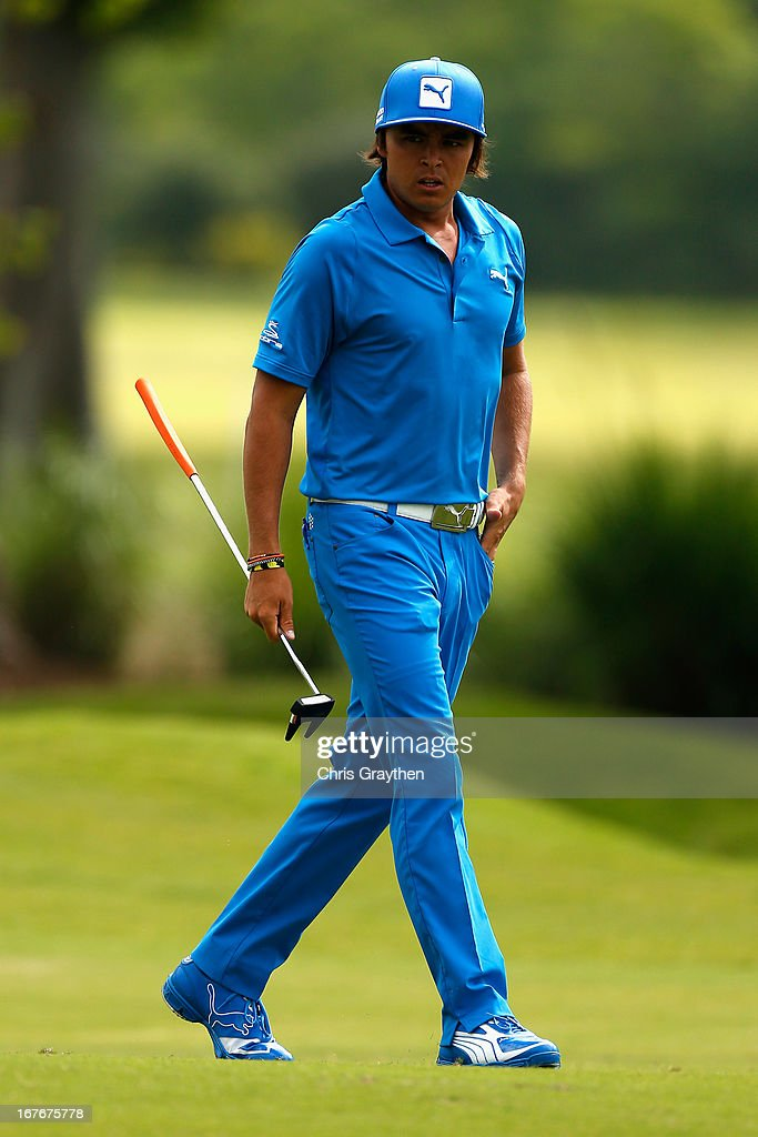 <a gi-track='captionPersonalityLinkClicked' href=/galleries/search?phrase=Rickie+Fowler+-+Golfer&family=editorial&specificpeople=4466576 ng-click='$event.stopPropagation()'>Rickie Fowler</a> walks up the fairway on the first hole during the third round of the Zurich Classic of New Orleans at TPC Louisiana on April 27, 2013 in Avondale, Louisiana.