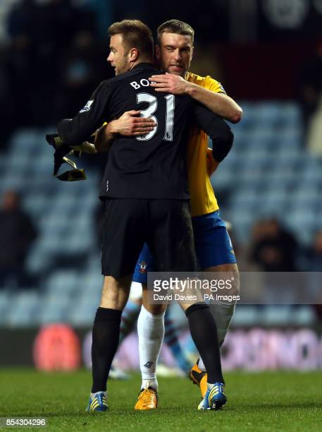 Rickie Lambert and Artur Boruc celebrate Southampton's victory at the final whistle following the Barclays Premier League match at Villa Park...