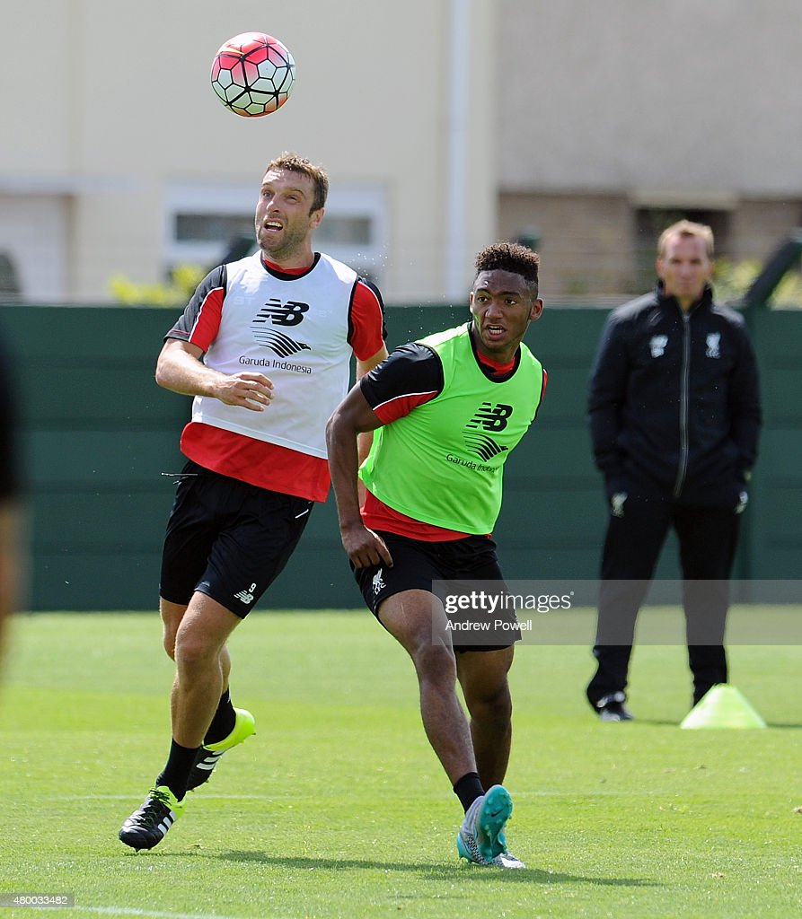 Rickie Lambert and Joe Gomez of Liverpool during a training session at Melwood Training Ground on July 9, 2015 in Liverpool, England.