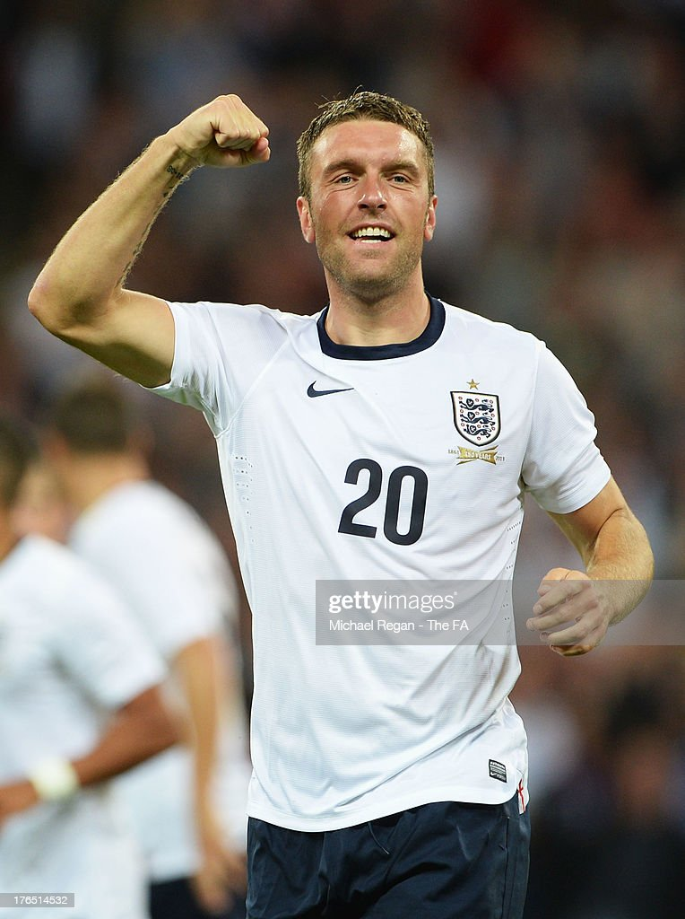 <a gi-track='captionPersonalityLinkClicked' href=/galleries/search?phrase=Rickie+Lambert&family=editorial&specificpeople=4124959 ng-click='$event.stopPropagation()'>Rickie Lambert</a> of England celebrates after scoring his side's third goal during the International Friendly match between England and Scotland at Wembley Stadium on August 14, 2013 in London, England.