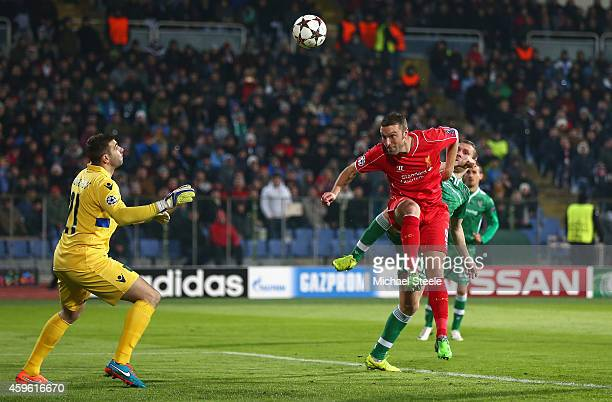 Rickie Lambert of Liverpool scores his sides opening goal during the UEFA Champions League Group B match between Ludogorets Razgrad and Liverpool at...