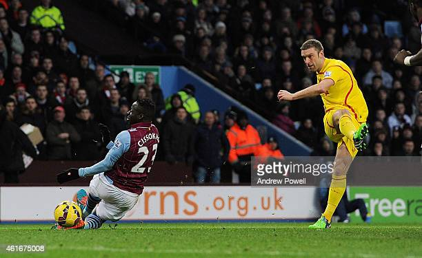 Rickie Lambert of Liverpool scores the second goal for Liverpool during the Barclays Premier League match between Aston Villa and Liverpool at Villa...