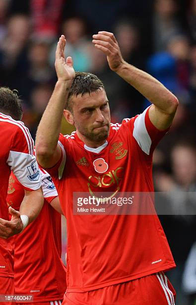Rickie Lambert of Southampton celebrates as he scores from a penalty kick during the Barclays Premier League match between Southampton and Hull City...