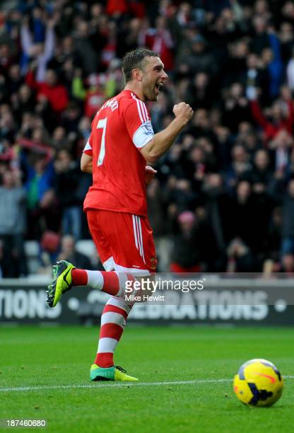 Rickie Lambert of Southampton celebrates as he scores their second goal from a penalty kick during the Barclays Premier League match between...
