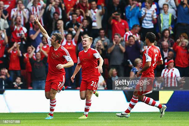 Rickie Lambert of Southampton celebrates scoring during the Barclays Premier League match between Southampton and Crystal Palace at St Mary's Stadium...