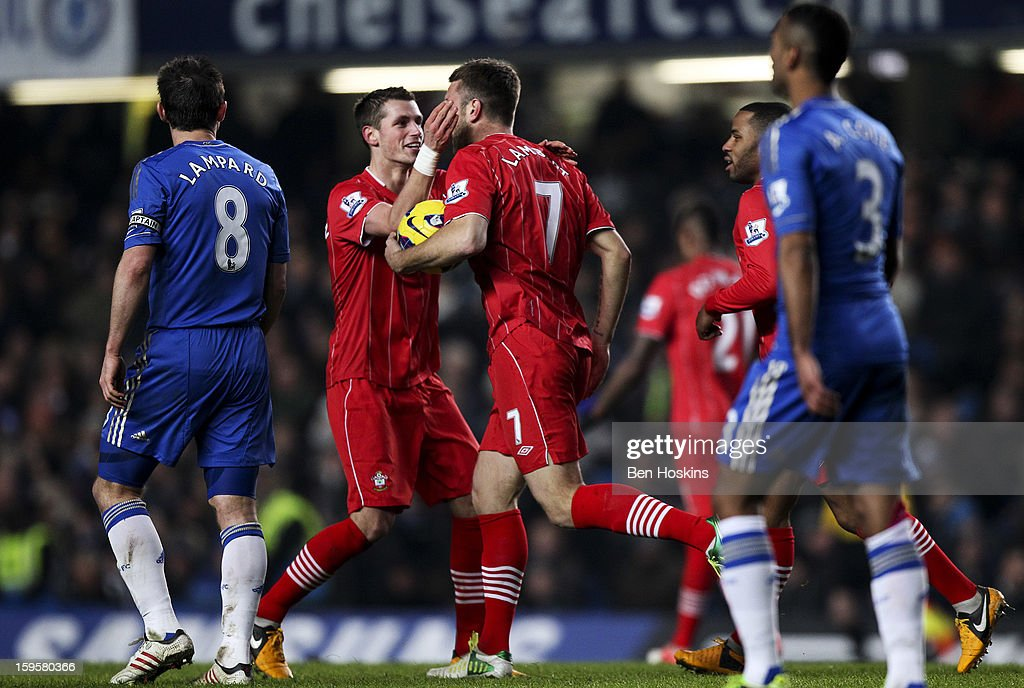 <a gi-track='captionPersonalityLinkClicked' href=/galleries/search?phrase=Rickie+Lambert&family=editorial&specificpeople=4124959 ng-click='$event.stopPropagation()'>Rickie Lambert</a> of Southampton celebrates scoring his goal with <a gi-track='captionPersonalityLinkClicked' href=/galleries/search?phrase=Morgan+Schneiderlin&family=editorial&specificpeople=4191360 ng-click='$event.stopPropagation()'>Morgan Schneiderlin</a> of Southampton during the Barclays Premier League match between Chelsea and Southampton at Stamford Bridge on January 16, 2013 in London, England.