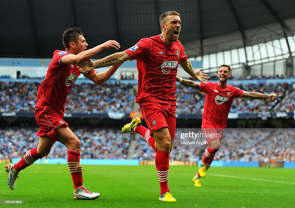 Rickie Lambert of Southampton celebrates scoring his team's first goal during the Barclays Premier League match between Manchester City and Southampton at Etihad Stadium on August 19, 2012 in Manchester, England.